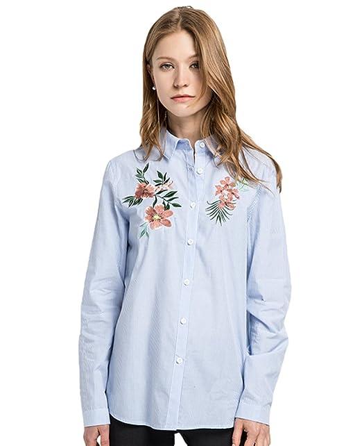 YAANCUN Mujer Flores Bordadas Manga Larga Blusa A Rayas Camisa De Otoño Azul