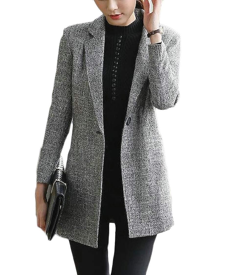 Grey XQS Women's Jacket Temperament Mid Long Leisure 1 Button AllMatch Blazer