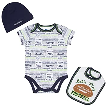 0b95d7970 Amazon.com : Gerber Seattle Seahawks Infant Bodysuit, Bib & Cap Set ...