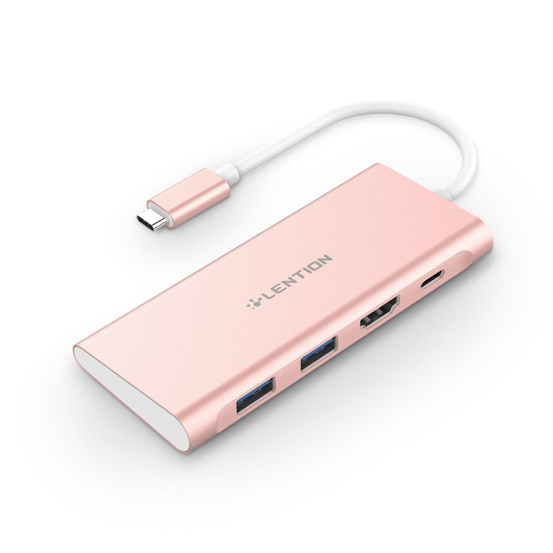 LENTION USB-C Digital AV Multiport Adapter with 4K HDMI, 2-Port USB 3.0, Type C Charging Hub for New MacBook Pro 13 15, MacBook 12, Dell XPS, More (Rose Gold)