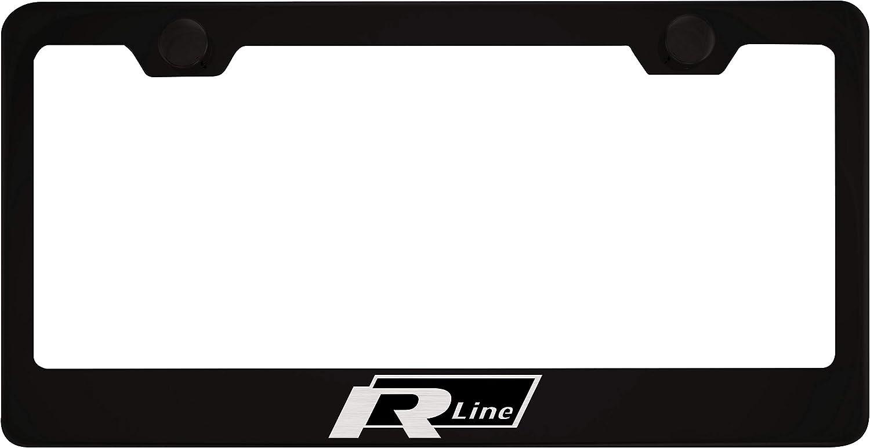 Fit Volkswagen R Line Matt Black Liecnese Plate Frame with Caps
