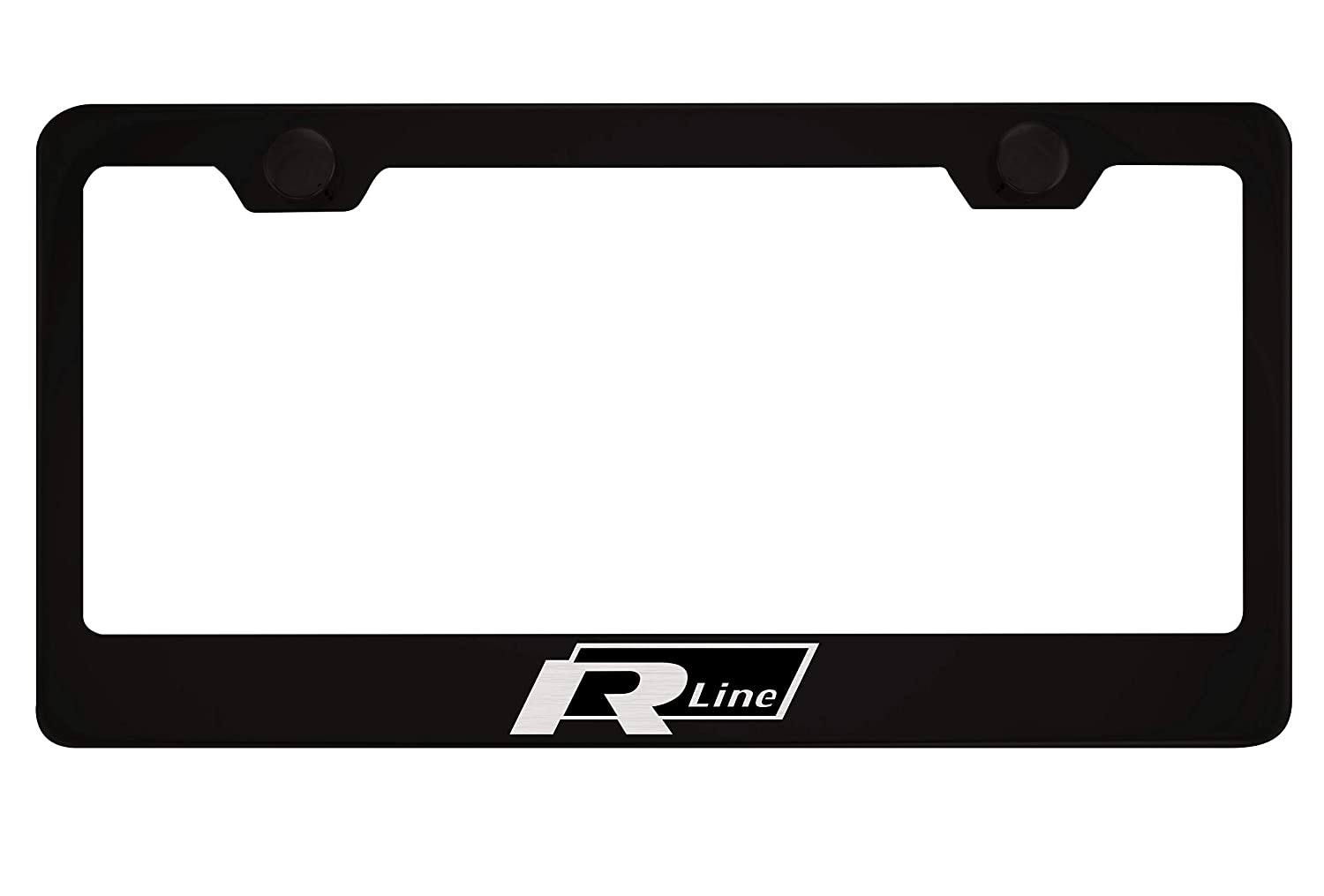 Volkswagen R Line Black License Plate Frame with Caps PCR