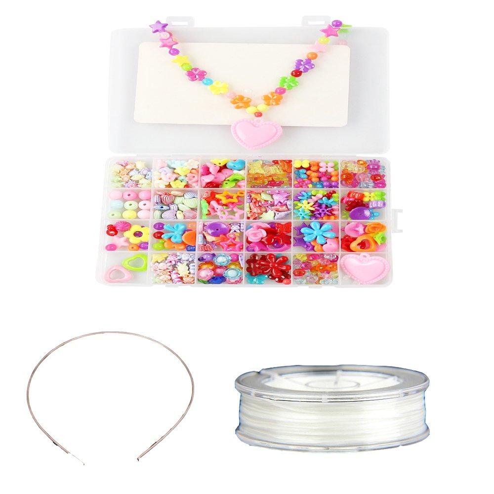 Fai da te perline per bambini colorato collana e bracciale artigianale, cordone di perline con diversi stili e forme perline acrilico multicolor per bambini RRunzfon