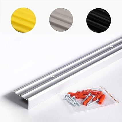 unsichtbare Montage: selbstklebend//vorgebohrt rutschhemmende Gummi-Einlage Treppenwinkel Profil in 3 Farben /& L/ängen Alu Treppenkantenprofil Power Grip vorgebohrt, gelb, 134 cm