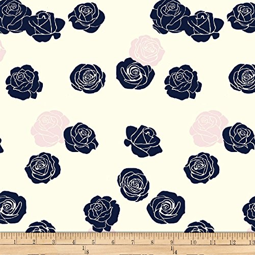 Birch Organic Fabrics Mod Nouveau Roses Blush Fabric by The Yard