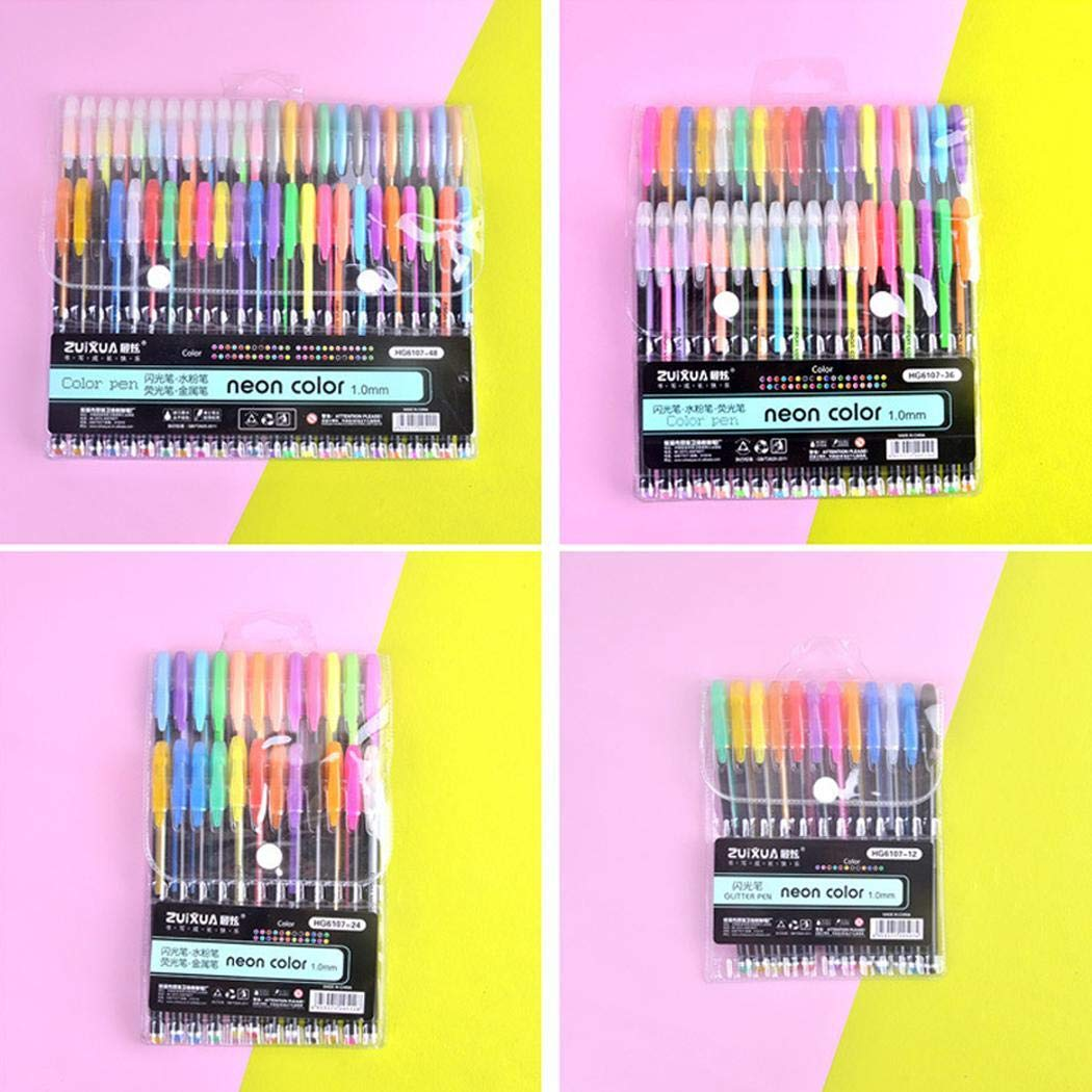 Lome123 Students Durable Portable Smooth Long Lasting Glitter Gel Pen Set Writing Tool