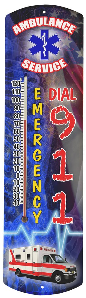 Heritage America by MORCO 375AMB Ambulance Outdoor or Indoor Thermometer, 20-Inch