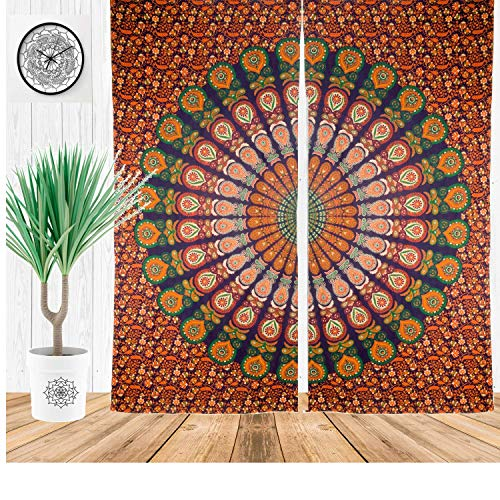DIYANA IMPEX Indian Peacock Mandala Cotton Hippie Tapestry Door Curtain Decor Window Curtains Drape Room Curtain -