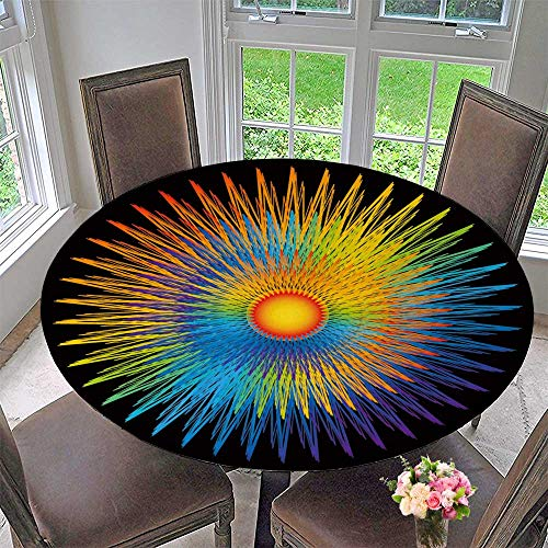 PINAFORE HOME Circular Table Cover Rainbow Sunburst for Wedding/Banquet 35.5