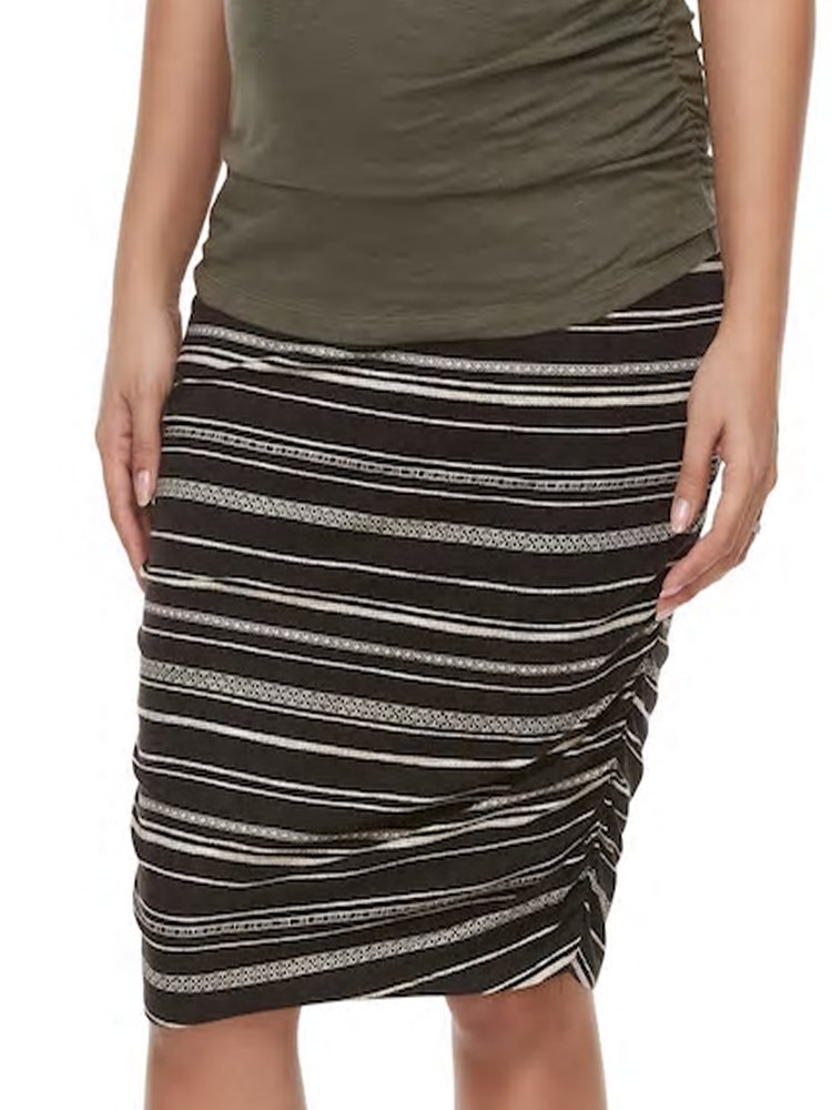 Belly Bliss Striped Ruched Maternity Pencil Skirt (Large)