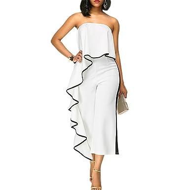 7c055dcfd889 Woodin Jumpsuit Romper Women Fashion Off Shoulder Loose Wide Leg Pants  Elegant Overalls White S