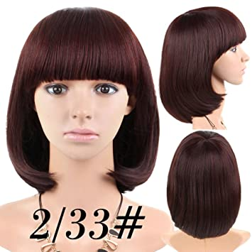Cheap Short Bob Wig Auburn Brown Color With Bangs for Women Full Head Colorful Cosplay Daily