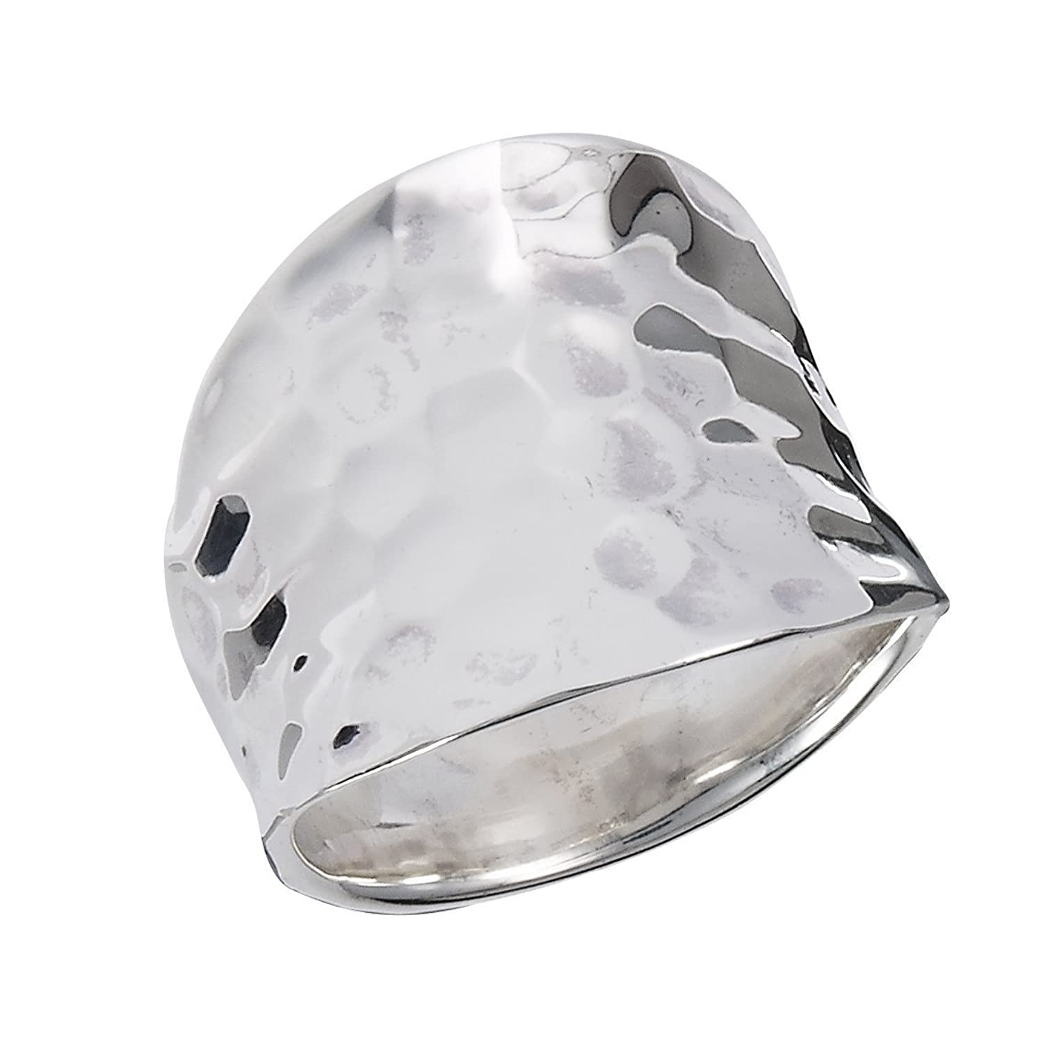 .925 Sterling Silver Concave Hammered Surface Ring