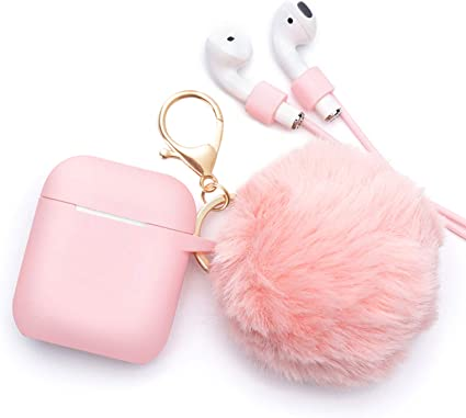 Amazon.com: BLUEWIND Airpods Case - BlUEWIND Drop Proof Air Pods Protective Case Cover Silicone Skin for Apple Airpods 2 & 1 Charging Case, Cute Fur Ball Airpod Keychain/Strap, Pink: Electronics