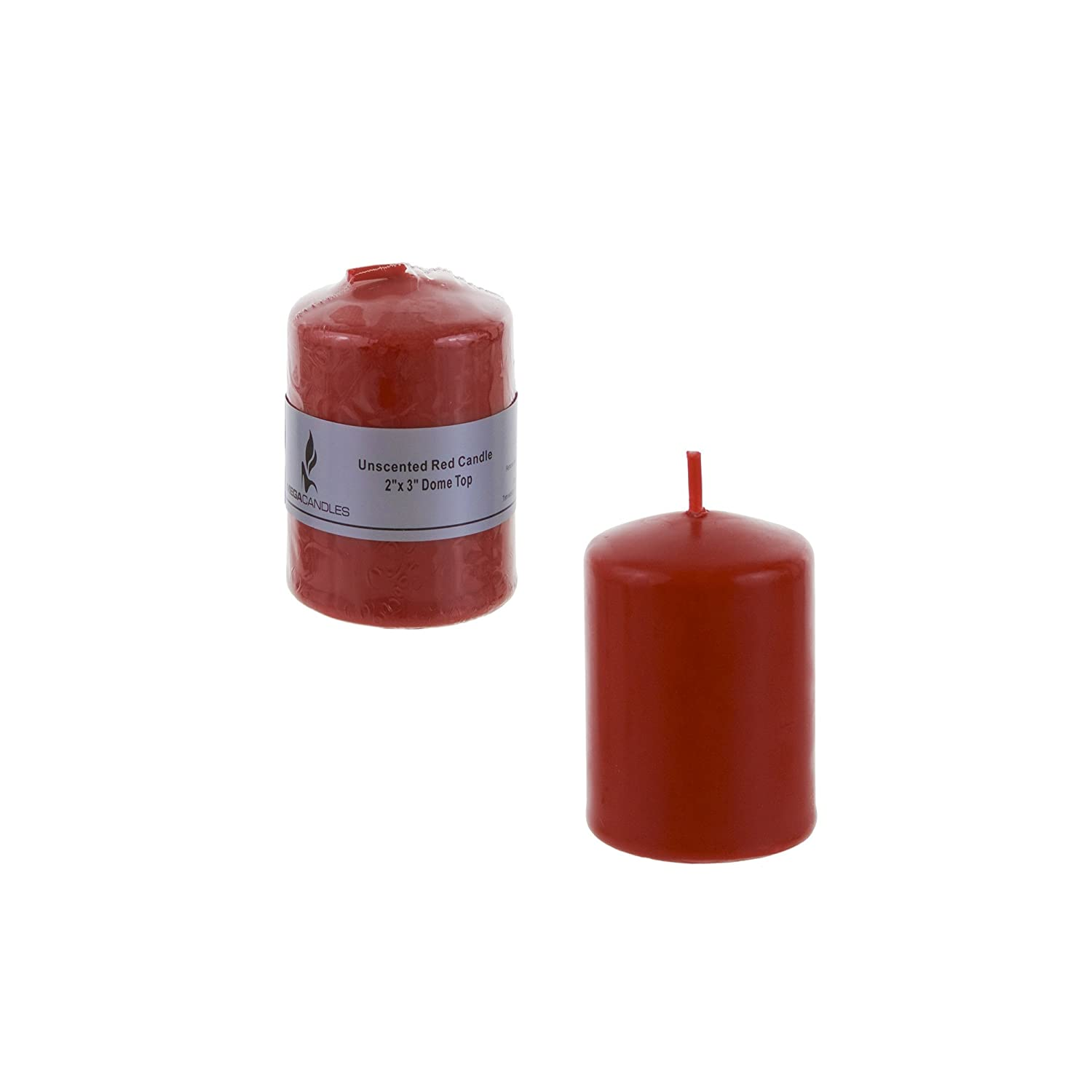 Home D/écor Pressed Premium Wax Candles 2 Inch x 3 Inch Baby Showers Mega Candles Unscented Red Round Pillar Candle Party Favors /& More Celebrations Birthdays Wedding Receptions