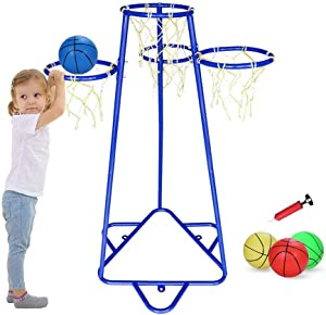 Pantrasamia Kids Basketball Hoop Portable Basketball Stand with 4 Hoops at Varying Heights and 3 Balls Toy Set for Age 2 Years and Up for Toddlers Indoor and Outdoor Sport Games (Blue)