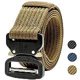 "KEEPGOO Tactical Belt,1.5 inch 30""-50"" Waist Men's Outdoor Belt, Tactical Military Nylon Belt Men Large Belt-Black"