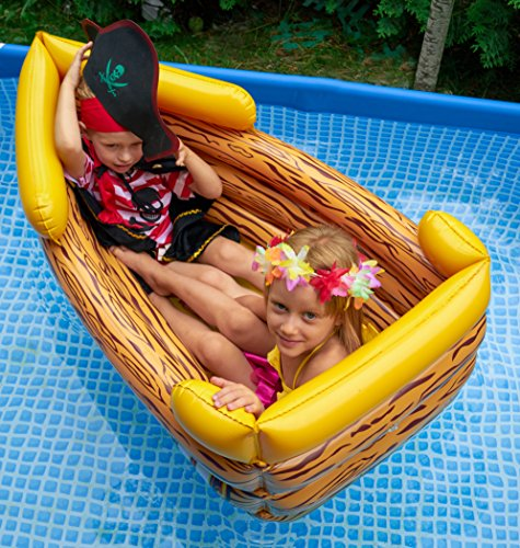 Kenley Inflatable Drinks Cooler - Floating Pirate Ship - Supplies & Decorations for Beach Pool Party, Summer Picnic, BBQ, Luau or Pirate Theme Kids Birthday - Ice Buffet Tray Drink Holder Serving Bar by Kenley (Image #3)
