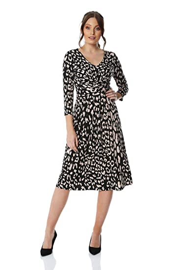 0fc930dd0275 Roman Originals Womens Animal Print Fit and Flare Dress - Ladies V-Neckline  Fit and Flare Formal Occasion Wedding Guest Graduation Smart Casual  Everyday ...