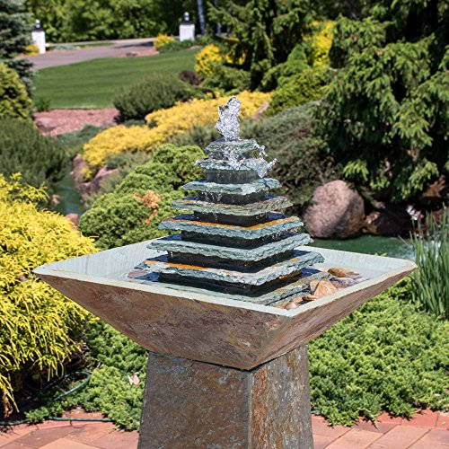 Sunnydaze Layered Slate Pyramid Outdoor Water Fountain - Large Garden & Backyard Waterfall Fountain Feature with LED Light - 40 Inch Tall