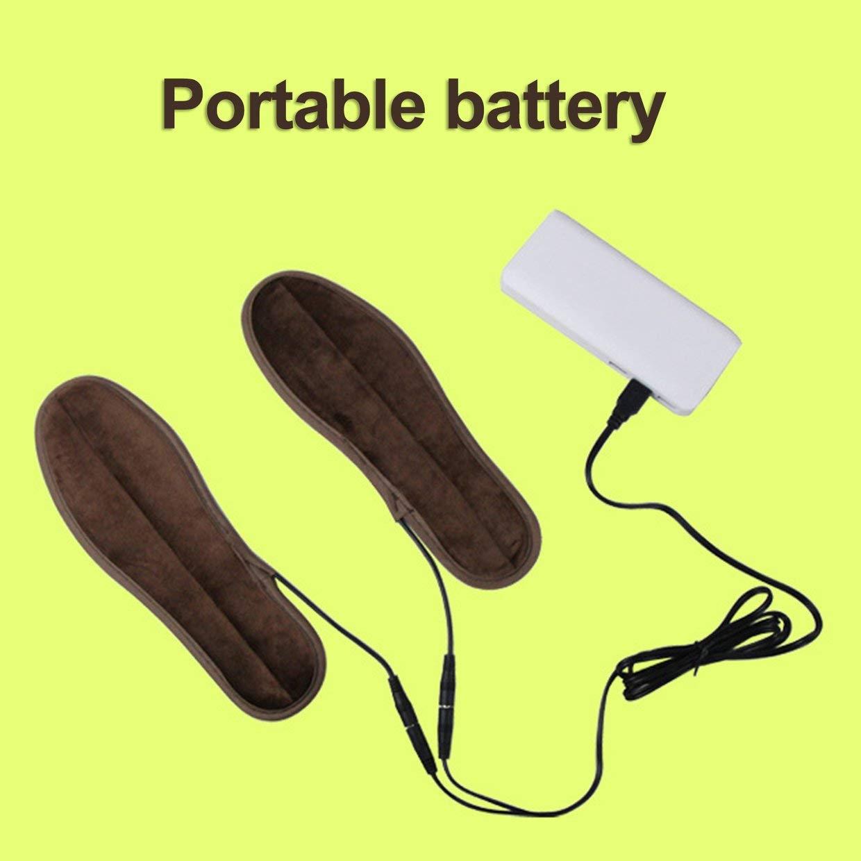 Qewmsg 1 par de Zapatos de Terciopelo Suave S/úper USB de Arranque el/éctrico Calefacci/ón Plantillas climatizada Calientapi/és Invierno Pads Cojines Zapatos Accesorios