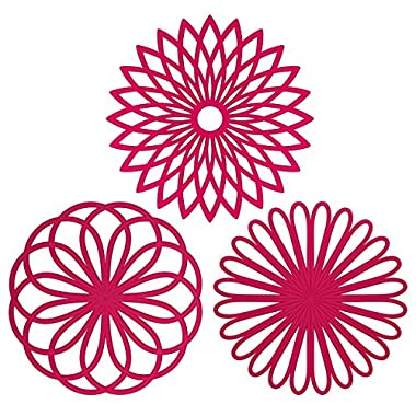 ME.FAN™ Silicone Multi-Use Flower Trivet Mat(set of 3 Pack) Premium Quality Insulated Flexible Durable Non Slip Coasters Cup Fuscia