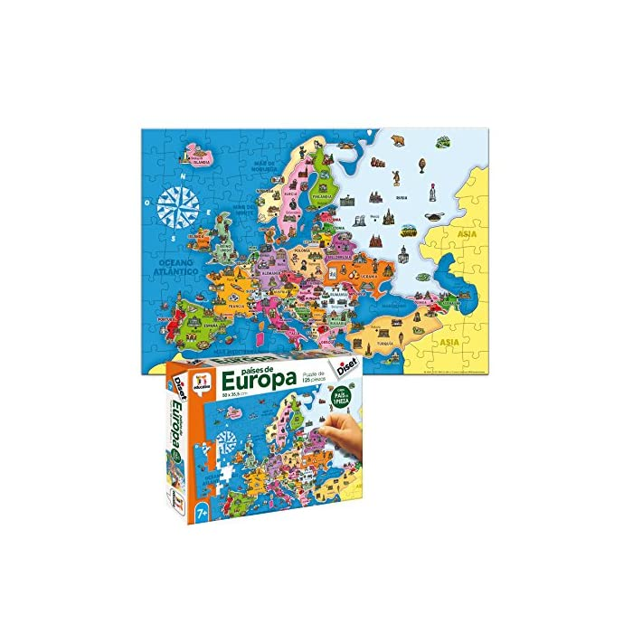617owBrNGcL Puzzle educativo de los países de Europa; una forma divertida de aprender la geografía europea y alguno de sus elementos culturales más característicos Cada país es una pieza, eso favorece el aprendizaje de cada país (con un color y forma diferentes)… y ayuda a entender el concepto de país y continente Desarrolla la capacidad de concentración y de relacionar; mejora la coordinación ojo-mano y la motricidad fina; mapa Actualizado