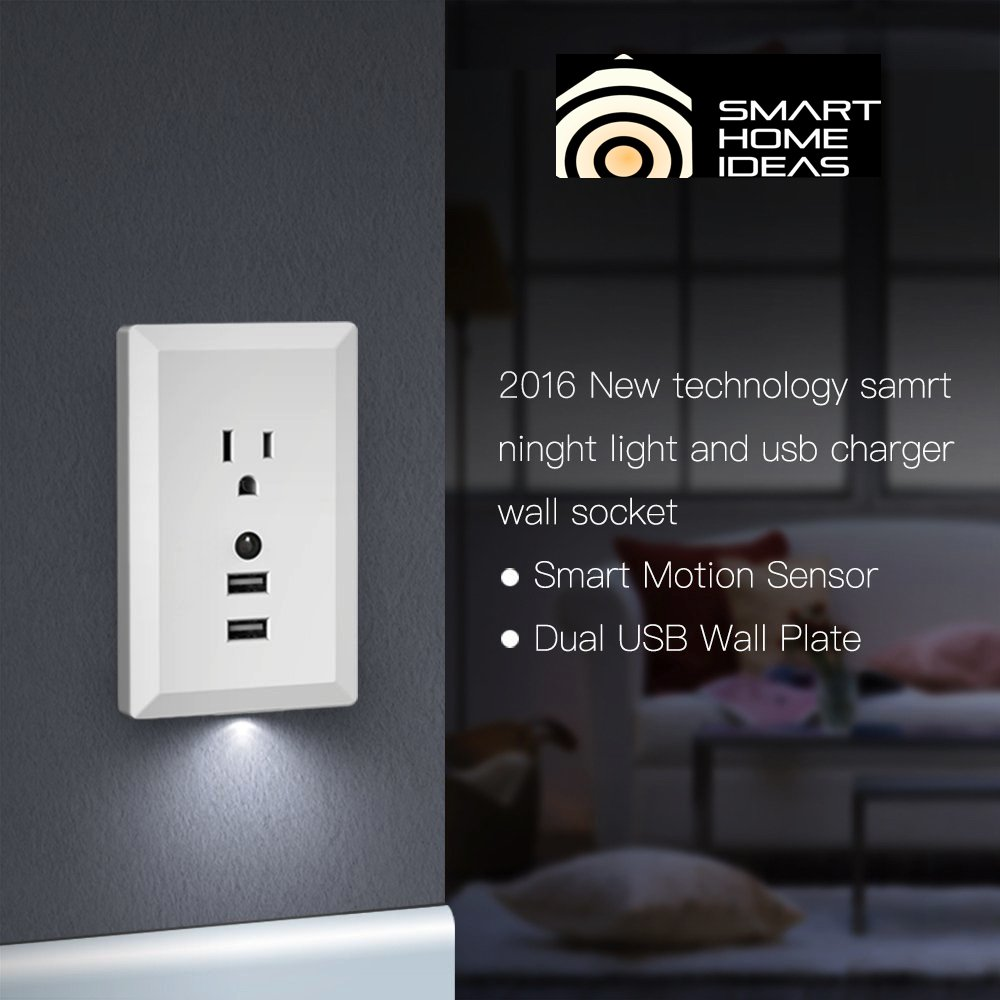 Amazon.com: 2.4A Dual USB Wall Outlet Charger and Dusk to Dawn LED ...