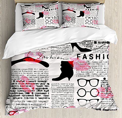 Ambesonne Old Newspaper Decor Duvet Cover Set Queen Size, Fashion Elements Kisses Lipstick Glasses Shoes Hangers, Decorative 3 Piece Bedding Set with 2 Pillow Shams, Scarlet Baby Pink Black