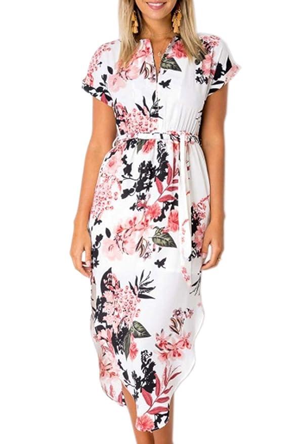 6d536d74b61899 Bequemer Laden Damen Kleid Sommerkleid Kurzarm V Ausschnitt Strandkleid  Partykleid Casual Midi Kleid Unregelmäßig Saum mit Gürtel: Amazon.de:  Bekleidung