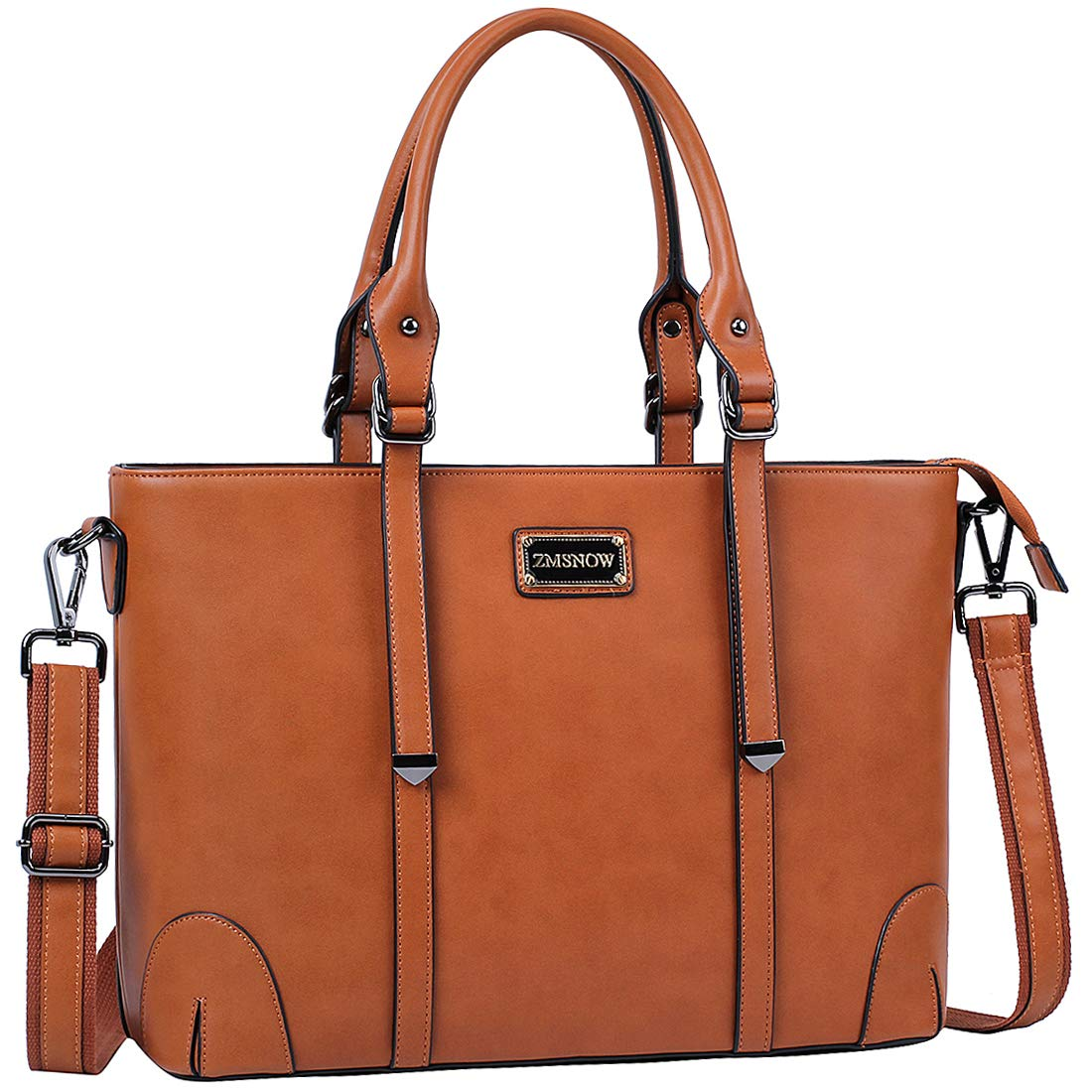 ca3bc7286c15 ZMSnow Laptop Bag,Work Tote Bag Fits Up to 15.6 Inch Laptop Tablet for  Women Business Travel (Brown)