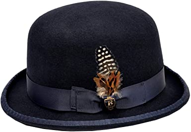 Men/'s Bruno Capelo Hat Godfather Black and White 100/% Wool