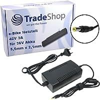 Trade-Shop Netzteil Ladegerät Ladekabel 3A für 36V Akkus mit 5,5mm x 2,1mm Rundstecker für E-Bike Elektrofahrrad Pedelec Elektro Fahrrad Akkus zum Aufladen