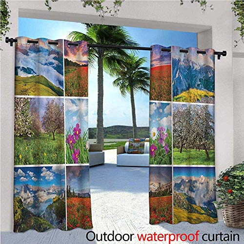 Spa Outdoor Privacy Curtain for Pergola Aromatherapy Purple Lilac Orchid Wellness Spa Fragrant Organic Herbal Oil Soaps Candles Thermal Insulated Water Repellent Drape for Balcony W84