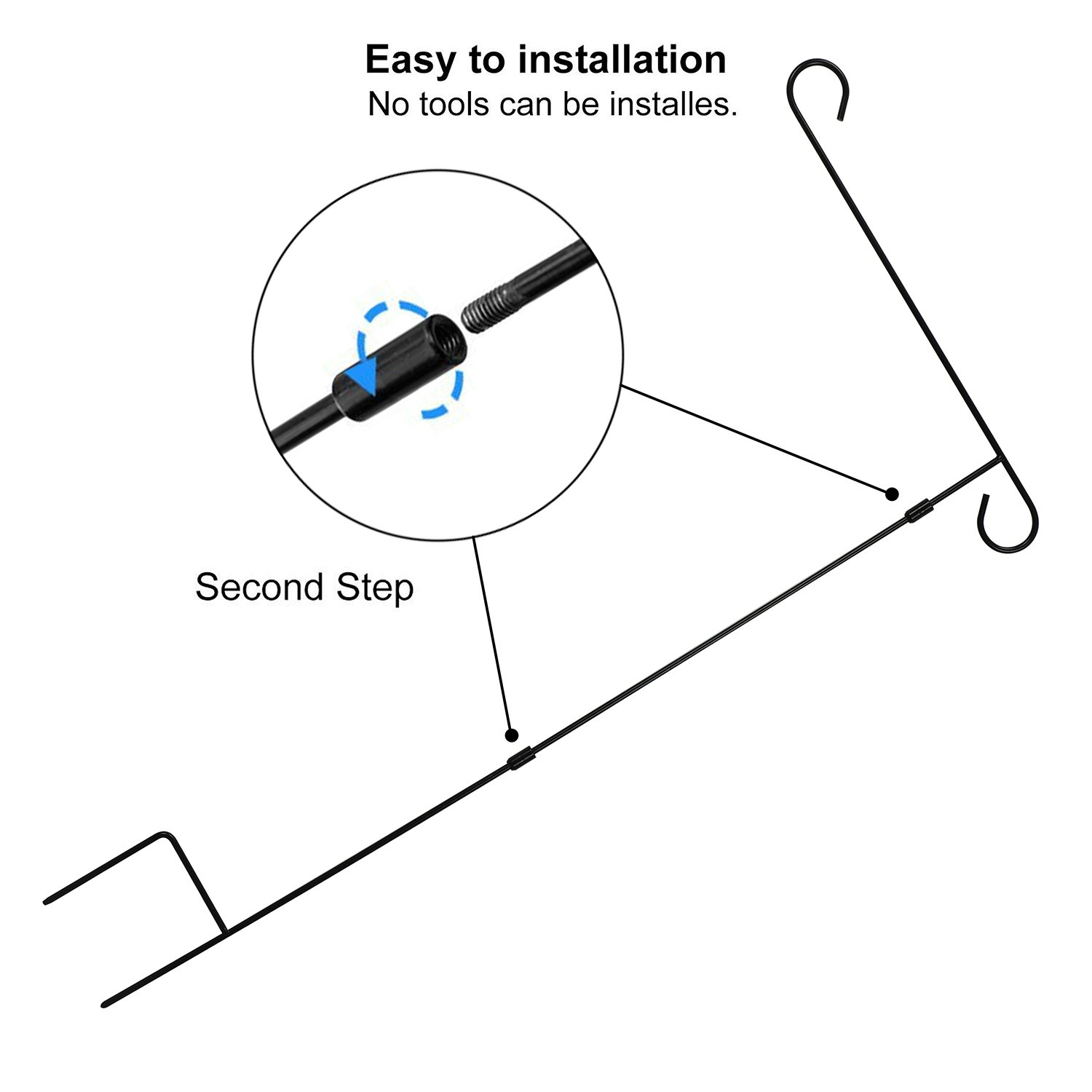 HOOSUN Garden Flag Stand Holder Pole Easy to Install Strong Sturdy Wrought Iron 36'' x 18'' Fits 12.5'' x 18'' Mini Flag with 1 Tiger Anti-Wind Clip 2 Anti-Wind Spring Stoppers by HOOSUN (Image #4)