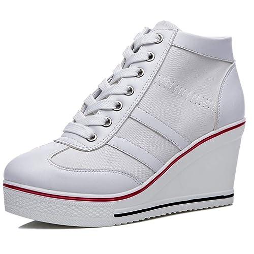 Zapatillas de Deporte de cuña para Mujer Zapatos causales Bombas de Plataforma Zapatos de Lona Transpirables Zapatos de tacón de cuña Ocultos: Amazon.es: ...