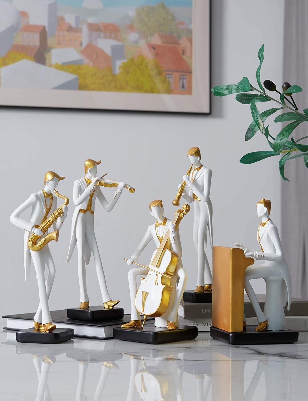 HauCoze Music Decor Musician Statue Sculpture Figurine Piano Gift Home Decoration Handmade Premium Souvenir Giftbox Safe Paint for Kids Polyresin 21.5cmH