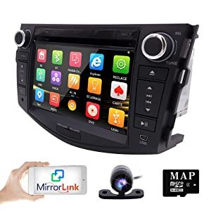 hizpo in Dash Car DVD Player GPS Navigation Radio BT Stereo for Toyota RAV4 2006-2012 Reverse Camera