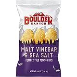 Boulder Canyon Kettle Cooked Potato Chips, Malt Vinegar & Sea Salt, 6.5 oz. Bag, 12 Count - Gluten Free, Tangy, Salty, Crunch