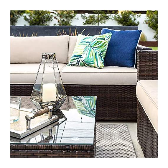 OAKVILLE FURNITURE 61106 6-Piece Outdoor Patio Furniture Rattan Sectional Sofa Conversation Set Brown Wicker, Beige Cushion - Proudly Made in U. S. A. Cushions and imported body frame with 1-year us based Manufacture . Outdoor FURNITURE set features four patio sofa chairs, ottoman and coffee Table with modular design. Easily reconfigurable to various layouts and enough room to seat 4-5 adults comfortably. - patio-furniture, patio, conversation-sets - 617oyVgunLL. SS570  -