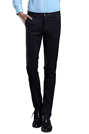85db7210c97c FLY HAWK Mens Business Dress Pants Stretchy Straight Leg Trousers Black 28