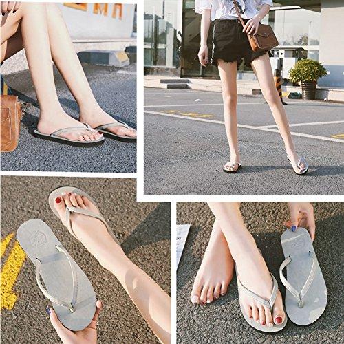 Mujer Zapatillas Playa con Marrón Abrazaderas de para Desconocido gRzxUW