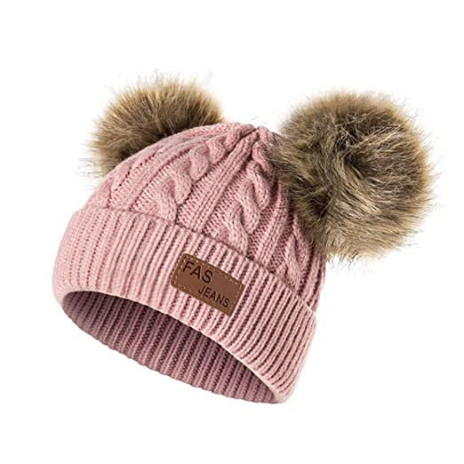 9e82aa09a72 Mnyycxen Children s Winter Pom Pom Beanie Hat with Warm Fleece Lined ...