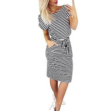80bcb7f839d14 Hot Sale! Women Dress Daoroka Striped Short Sleeve Casual Summer Tie Waist  Beach...