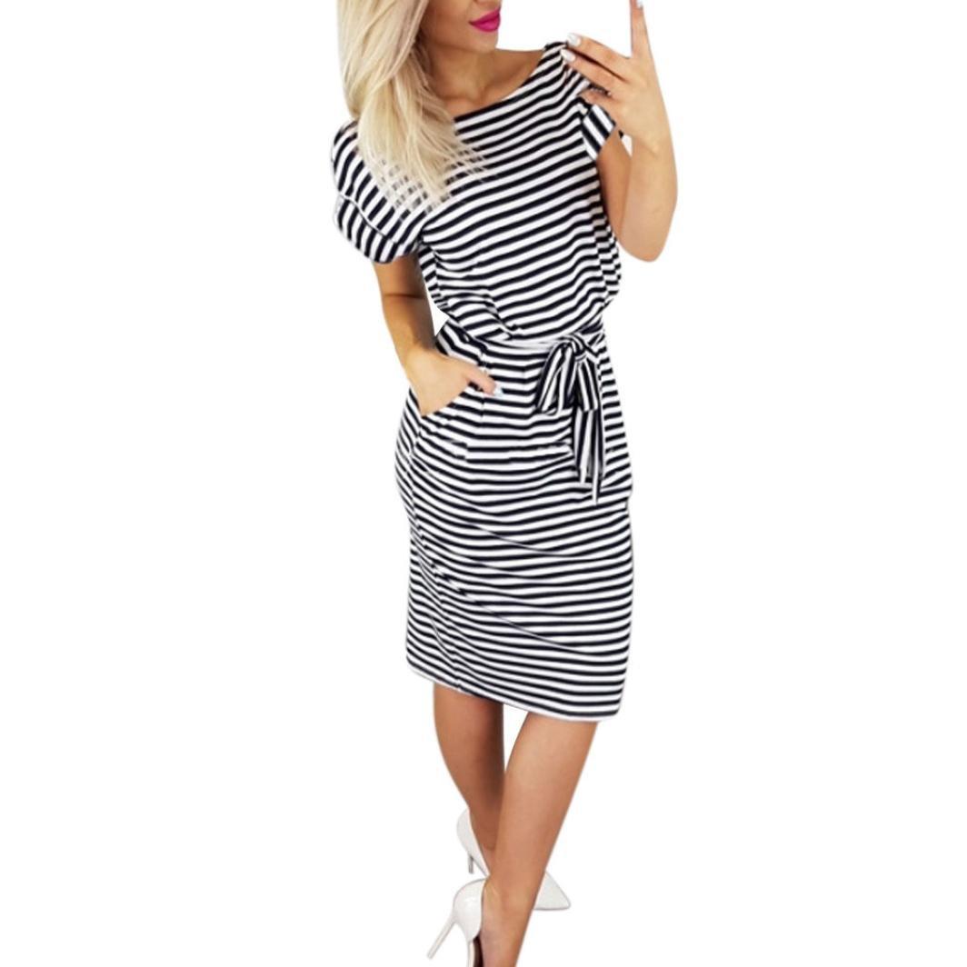 Hot Sale! Women Dress Daoroka Striped Short Sleeve Casual Summer Tie Waist Beach Sundress A Line Swing Knee-Length Mini Dress (XL, Black)
