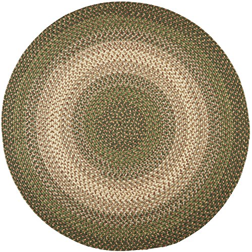 Super Area Rugs, Hartford Braided Indoor / Outdoor Rug Textured Durable Green Sunroom/Porch Carpet, 8' Round (Sunrooms Cottage)