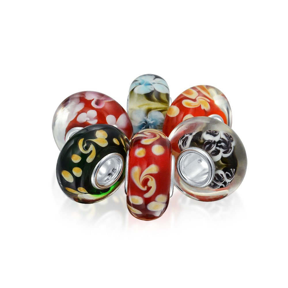 Set of Six Bundle Multicolored Jewel Tone Floral Foliage Murano glass Charm Bead .925 Sterling Silver Bling Jewelry PBX-HGSC-041