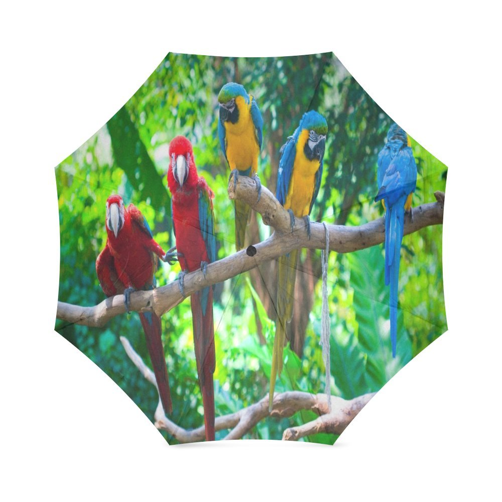cheap Custom Macaw Parrot Compact Travel Windproof Rainproof Foldable Umbrella