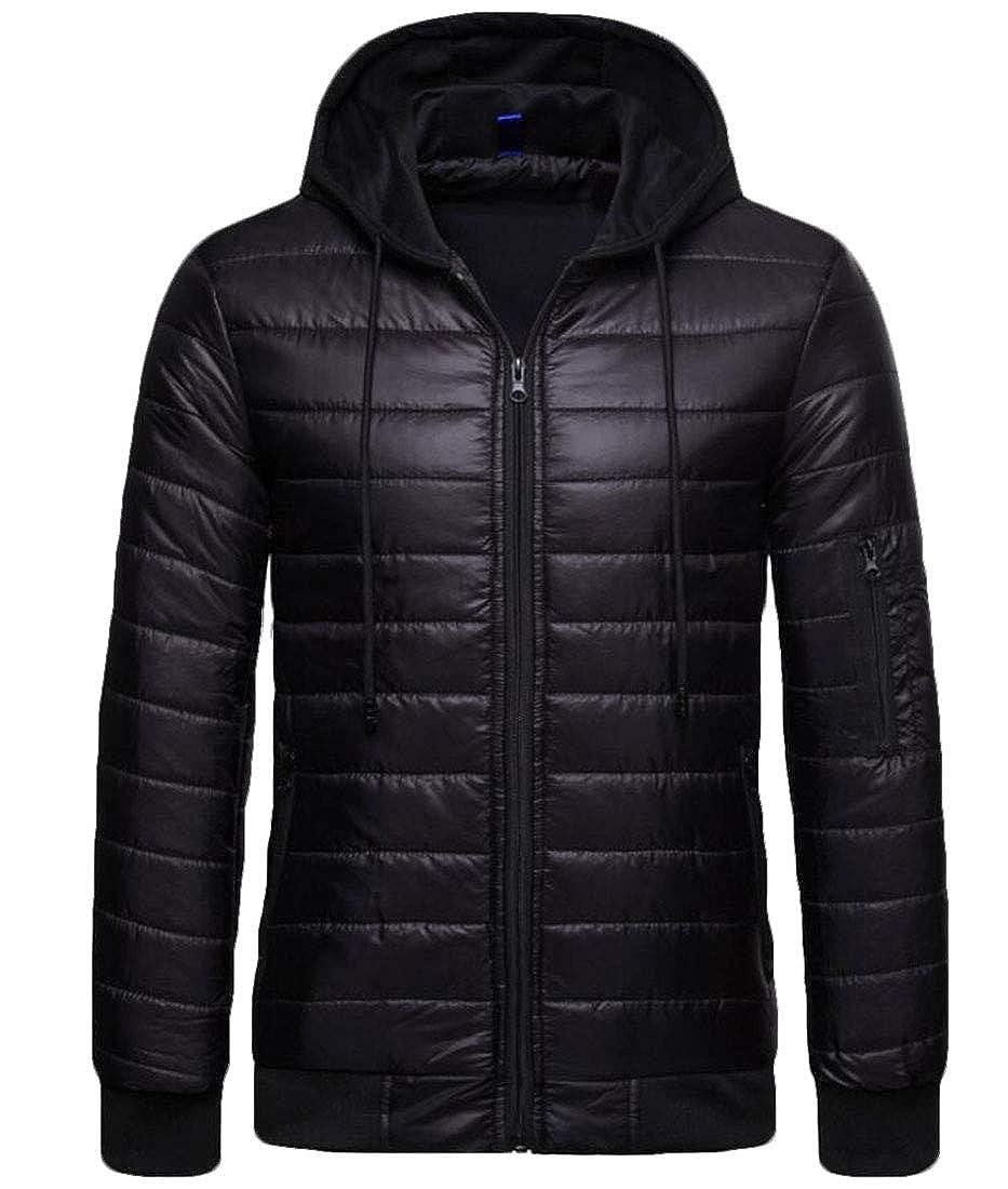 Domple Men Quilted Drawstring Outdoor Winter Zip-Up Hooded Down Jacket Coat