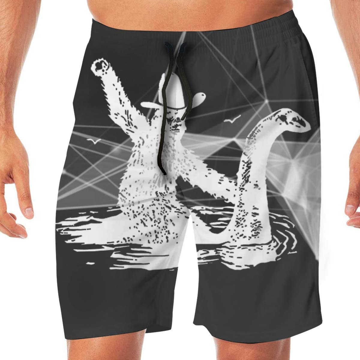 Bigfoot Riding On Nessie Mens Classic Summer Shorts Casual Swim Shorts with Pockets